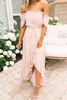 Off the Shoulder Button Down High Low Maxi - Blush