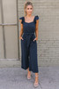 Flutter Sleeve Button Detail Crop Jumpsuit - Navy  - FINAL SALE