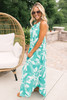 Tiki Party Printed Halter Maxi - Green/White -  FINAL SALE
