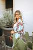 Crochet Detail Printed Duster Kimono - Sky Blue/Burgundy - FINAL SALE