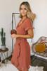 Short Sleeve V-Neck Ruffle Detail Dress - Burnt Orange - FINAL SALE