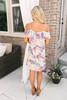 Cold Shoulder Tropical Floral Dress - Beige Stone Multi  - FINAL SALE