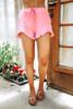 Drawstring Ruffle Pocket Shorts - Pink