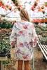 Ruffle Sleeve Tropical Floral Kimono - Beige Stone Multi
