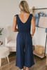 Everly Soft Terry Tie Strap Jumpsuit - Navy