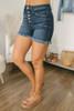5 Button Frayed Denim Shorts - Dark Wash - FINAL SALE