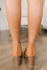 Lace Up Cage Peep Toe Booties - Tan - FINAL SALE