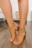 Lace Up Cage Peep Toe Booties - Tan