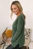 Lightweight V-Neck Sweater - Dark Olive