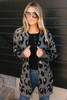 Blair Leopard Pocket Cardigan - Charcoal  - FINAL SALE