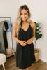 V-Neck Scalloped Detail Dress - Black