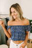 Everly Off the Shoulder Printed Top - Navy/White