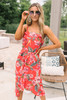 Tropical Floral High Low Midi Dress - Red Multi