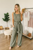 You Got Me Tie Waist Jumpsuit - Olive