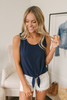 Everly Soft Terry Knot Tank - Navy