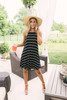 Instant Classic Halter Striped Dress - Black/White - FINAL SALE