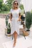 Short Sleeve Tie Waist Tulip Midi Dress - Heather Grey -  FINAL SALE