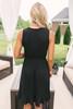 Vivian Faux Wrap Ruffle Hem Dress - Black