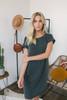 Cuffed Dolman Sleeve T-Shirt Dress - Faded Black -  FINAL SALE