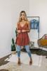 V-Neck Tiered Babydoll Tunic Dress - Rust