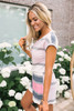 Short Sleeve Striped Thermal Romper - Berry Multi