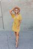 Short Sleeve Cross Front Sprinkle Dress - Mustard/White