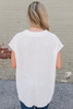 Cap Sleeve Surplice Twisted Hem Top - White