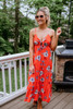Tie Front Tiered Floral Midi Dress - Coral Red - FINAL SALE