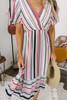 Short Sleeve Surplice Striped Midi Dress - Red Multi - FINAL SALE