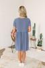 Short Sleeve Babydoll Dress - Denim Blue