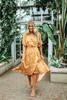 Faux Wrap High Low Floral Midi Dress - Mustard