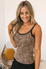 Lace Detail Leopard Ribbed Tank - Taupe Multi -FINAL SALE