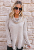 Cowl Neck Soft Brushed Ribbed Top - Oatmeal  - FINAL SALE