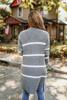 Striped Pocket Cardigan - Charcoal/Ivory