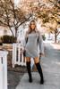 Mock Neck Sweater Dress - Charcoal