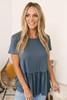 Short Sleeve Knit Peplum Top - Charcoal Slate
