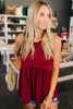 Diem Soft Knit Babydoll Tank - Burgundy - FINAL SALE