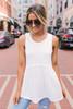 Diem Soft Knit Babydoll Tank - White - FINAL SALE