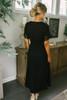Short Sleeve Crochet High Low Wrap Maxi - Black