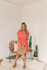 Short Sleeve Crochet Detail Babydoll Dress - Coral