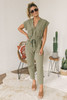 Maverick Button Down Cargo Jumpsuit - Olive