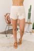 Drawstring Crochet Shorts - Cream