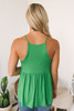 V-Neck Racerback Babydoll Tank - Kelly Green- FINAL SALE