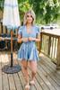 Flutter Sleeve Tie Waist Tie Dye Romper - Sky Blue/White - FINAL SALE