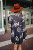 Button Detail Bell Sleeve Floral Dress - Charcoal - FINAL SALE