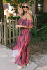 Strapless High Low Tie Dye Maxi - Rust/Navy - FINAL SALE