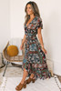 Faux Wrap High Low Mixed Floral Maxi - Navy Multi - FINAL SALE