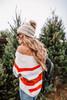 Off the Shoulder Striped Chenille Sweater - Cream Multi