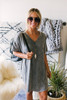 V-Neck Vintage Wash Tunic T-Shirt Dress - Charcoal