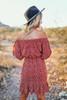 Off the Shoulder Ruched Floral Dress - Red - FINAL SALE